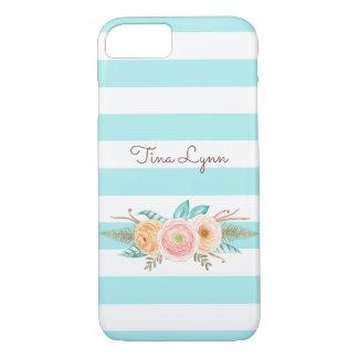 Schickes Aqua Stripes weibliches Blumen- und iPhone 8/7 Hülle