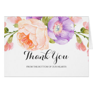 Schickes Aquarell-Blumenhochzeit danken Ihnen Grußkarte