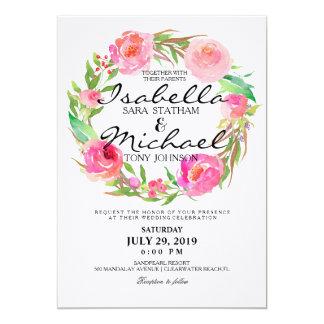 Schickes Aquarell-BlumenKranz, der Invitation7 12,7 X 17,8 Cm Einladungskarte