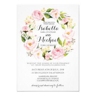 Schickes Aquarell-BlumenKranz-Hochzeits-Einladung 12,7 X 17,8 Cm Einladungskarte