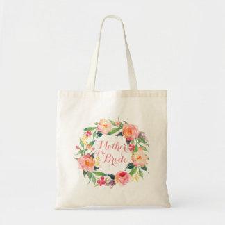 Schickes Aquarell-BlumenKranz-Mutter der Braut Budget Stoffbeutel