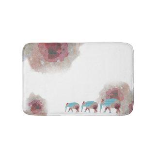 Schickes Aquarell mit Blumen und Elefant-Bad-Matte Badematte