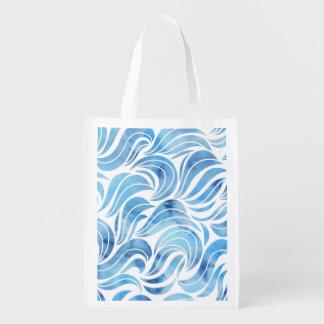 Schickes blaues Wellen-Muster Wiederverwendbare Einkaufstasche