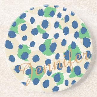 Schickes buntes grün-blaues Geparddruckmonogramm Getränkeuntersetzer