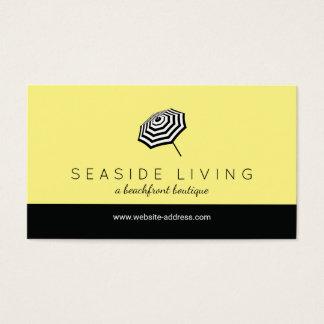 Schickes gestreiftes Strandschirm-Logo-Gelb Visitenkarte