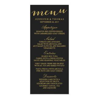 Schickes Gold und schwarzes Hochzeits-Menü 10,2 X 23,5 Cm Einladungskarte