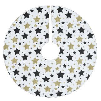 Schickes Goldbezaubernde und schwarze Sterne Polyester Weihnachtsbaumdecke