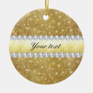 Schickes Goldfunkelnde Sterne und -diamanten Keramik Ornament