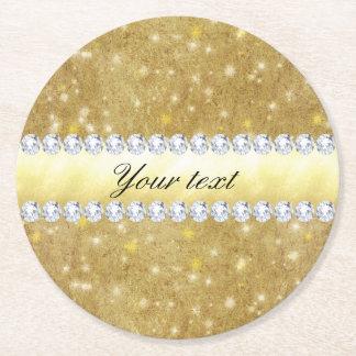 Schickes Goldfunkelnde Sterne und -diamanten Runder Pappuntersetzer