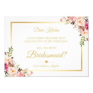 Schickes Goldrosa-Blumenwille sind- Sie meine Karte