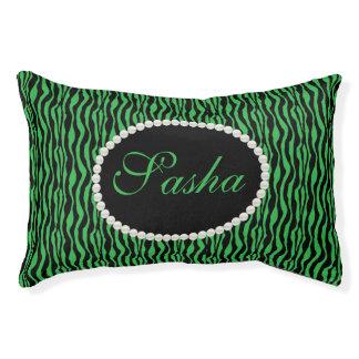 Schickes grünes Zebra-Druck-Muster-Namen-Monogramm Haustierbett