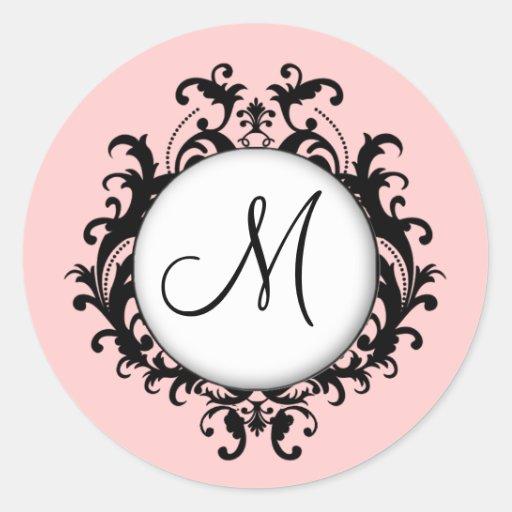 Schickes Hochzeits-Monogramm-Damast-Aufkleber-Rosa