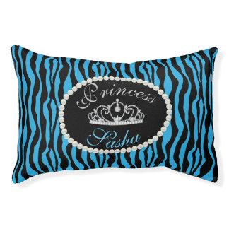 Schickes Monogramm Prinzessin-Blue Zebra Print Haustierbett