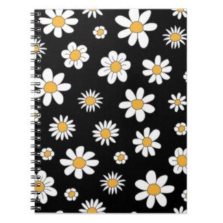 Schickes Notizbuch in schwarz-weiß Design Blumen Notizblock