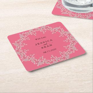 Schickes rosa Blumen- u. Perlen Wedding Rechteckiger Pappuntersetzer