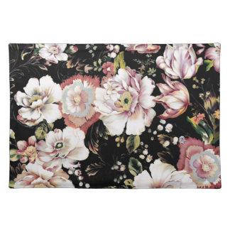 schickes schwarzes Blumen des böhmischen Tischset