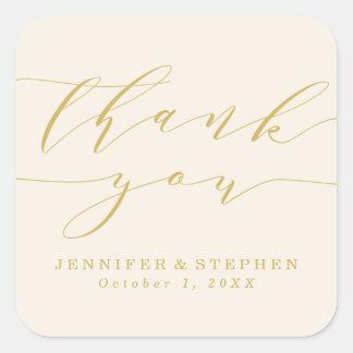 Schickes Skript Wedding | danken Ihnen Quadratischer Aufkleber