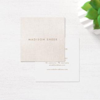 Schickes stilvolles modernes beige Leinen Quadratische Visitenkarte