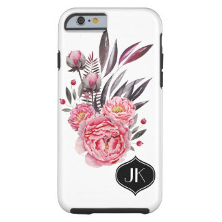 Schickes und Girly BlumenAquarell-Monogramm Tough iPhone 6 Hülle