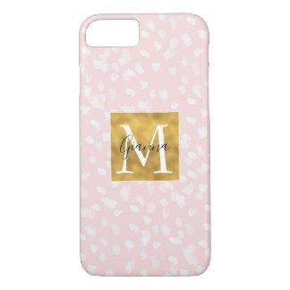 Schickes weißes rosa Kassagold-Monogramm iPhone 8/7 Hülle