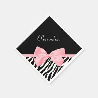 Schickes Zebra-Druck-weich Girly hellrosa Band Papierserviette