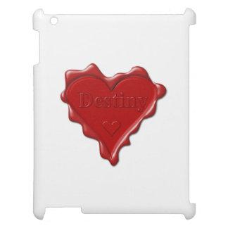 Schicksal. Rotes Herzwachs-Siegel mit iPad Hülle