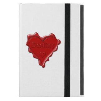 Schicksal. Rotes Herzwachs-Siegel mit iPad Mini Schutzhülle