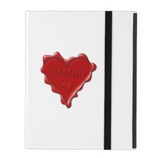 Schicksal. Rotes Herzwachs-Siegel mit iPad Schutzhülle