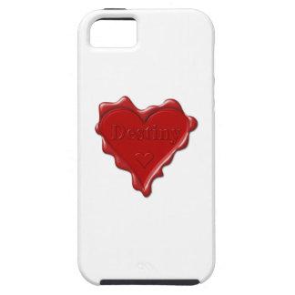 Schicksal. Rotes Herzwachs-Siegel mit iPhone 5 Schutzhülle