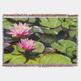 Schieber-Schildkröte-Wasserlilie-Blumen-Teich-wild Decke