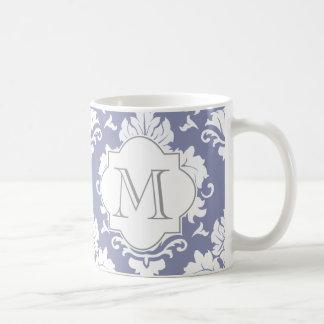 Schiefer-blauer u. weißer Damast-mit Monogramm Kaffeetasse