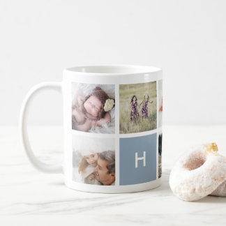 Schiefer der Monogramm-Foto-Collagen-Tassen-| Kaffeetasse
