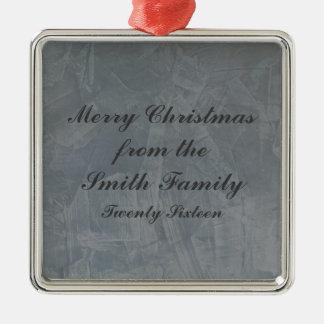 Schiefer-Grau-venezianisches Gips-Weihnachten Quadratisches Silberfarbenes Ornament