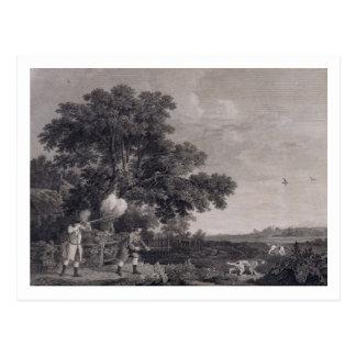 Schießen, Platte 3, graviert von William Woollett Postkarte