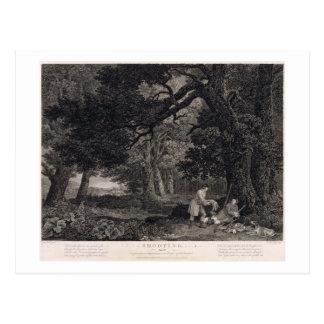 Schießen, Platte 4, graviert von William Woollett Postkarte