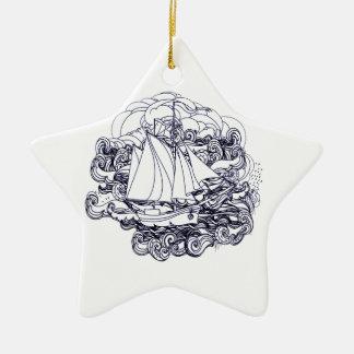 Schiff fest im Sturm Keramik Stern-Ornament