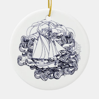 Schiff fest im Sturm Rundes Keramik Ornament