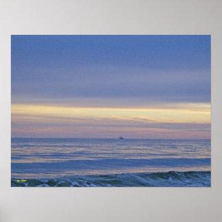 Schiff heraus in Meer Poster