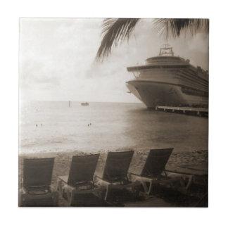 Schiff in der Sepia-Fliese Fliese