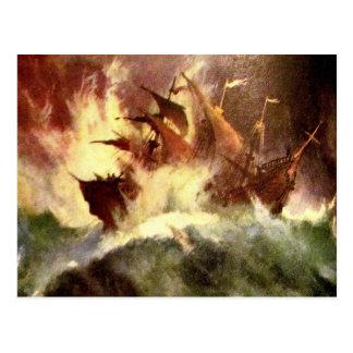 Schiff in einem Sturm Postkarte
