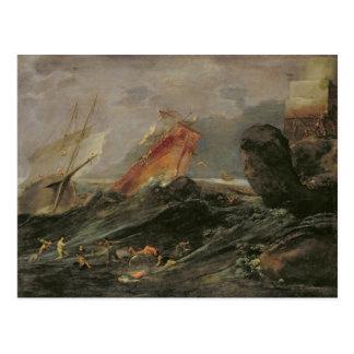 Schiffbruch auf einem felsigen Ufer, c.1645-50 Postkarte
