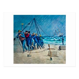 Schiffbruch-Rettungs-Gruppen-magische Laternen-Dia Postkarte