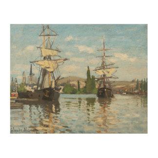 Schiffe Claude Monets |, die auf die Seine in Holzleinwand