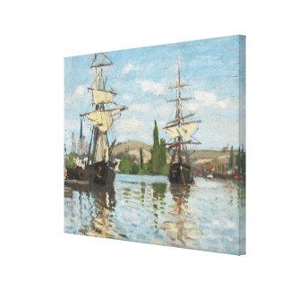 Schiffe Claude Monets |, die auf die Seine in Leinwanddruck