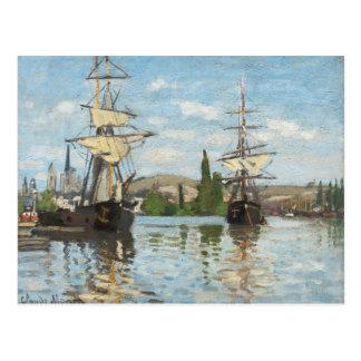 Schiffe Claude Monets |, die auf die Seine in Postkarte