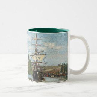 Schiffe Claude Monets |, die auf die Seine in Zweifarbige Tasse