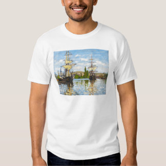 Schiffe, die auf die Seine in Rouen Claude Monet Hemd