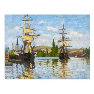 Schiffe, die auf die Seine in Rouen Claude Monet Postkarte