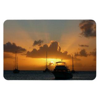 Schiffe und Sonnenuntergang-tropischer Meerblick Magnet