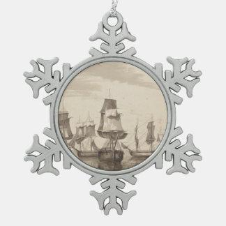 Schiffe vom 26. Juni 1776 Schneeflocken Zinn-Ornament